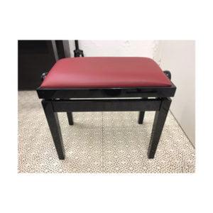 Pianopall begagnad | Svart med röd vinylsits